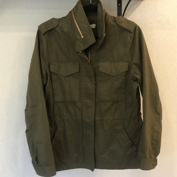 H&M green cargo utility jacket rose gold hardware